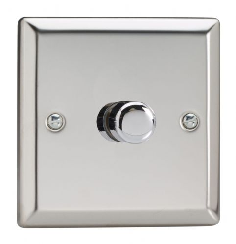Varilight JCP401 Classic Mirror Chrome 1 Gang 2-Way Push-On/Off LED Dimmer 0-120W V-Pro